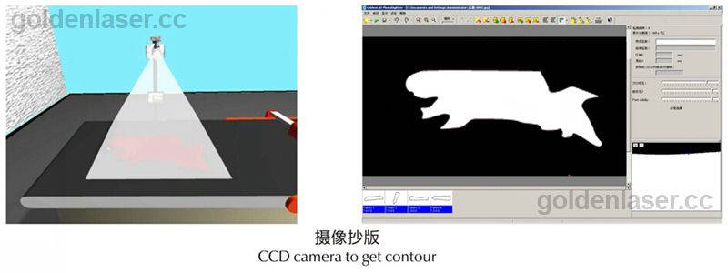 CCD camera to get contour for genuine leather
