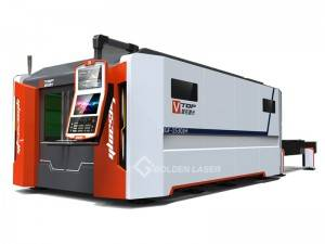 Full Ditutup Serat Laser Cutting Machine karo Pallet Changer