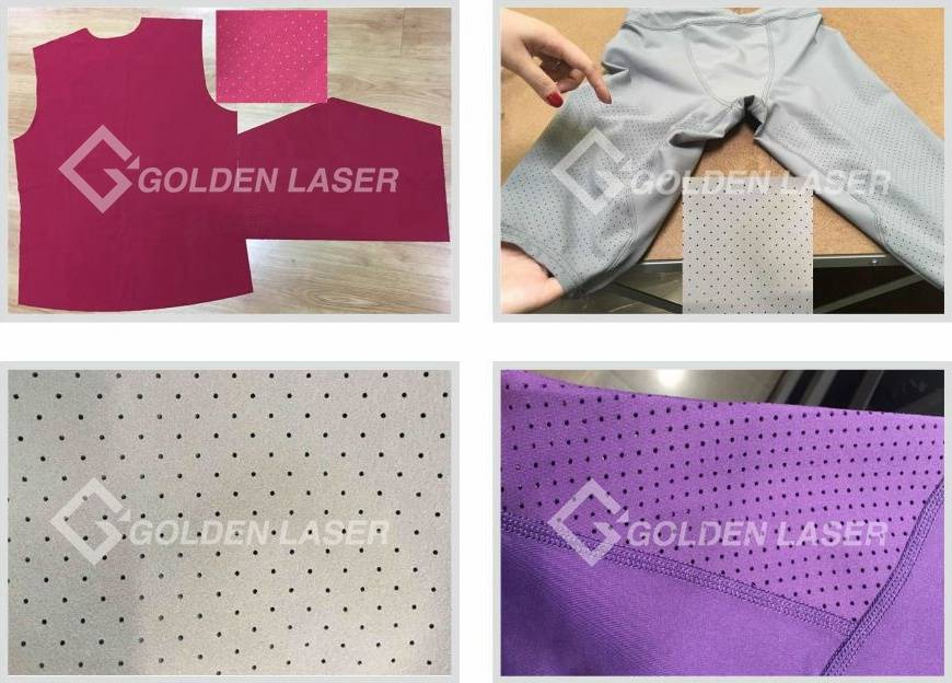 Galvo laser perforating fabrics samples