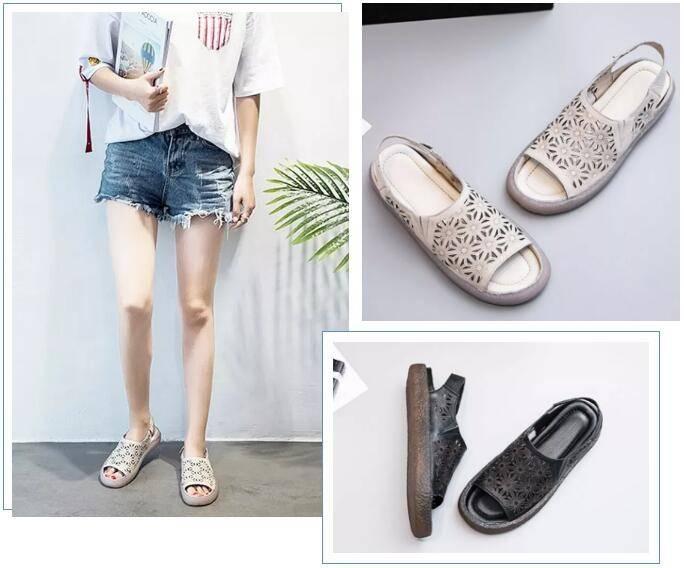 Laser-cut fashion sandals