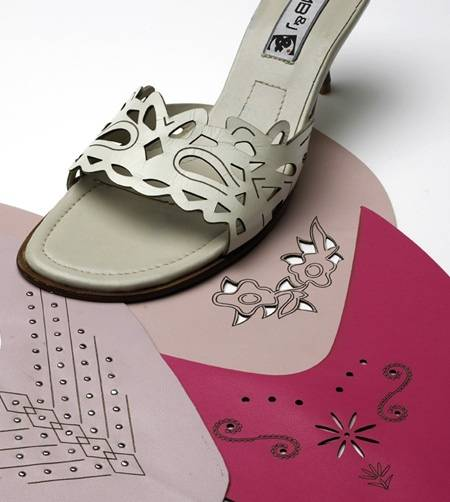 laser cutting and engraving leather shoes