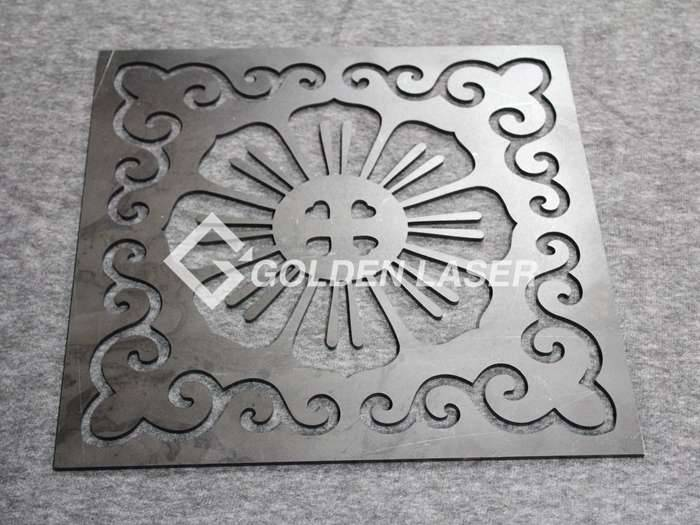 laser cutting designs on metal sheet