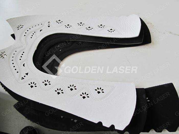 laser cutting engraving leather shoe upper