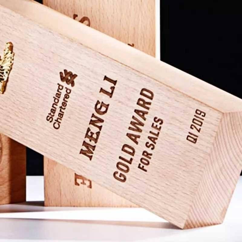 laser engraved wooden trophy