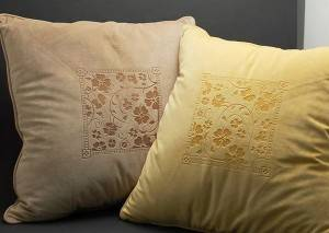 Laser engraving throw pillows, embellishing comfortable living room