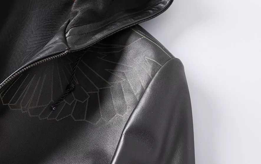 laser marking business style leather jacket