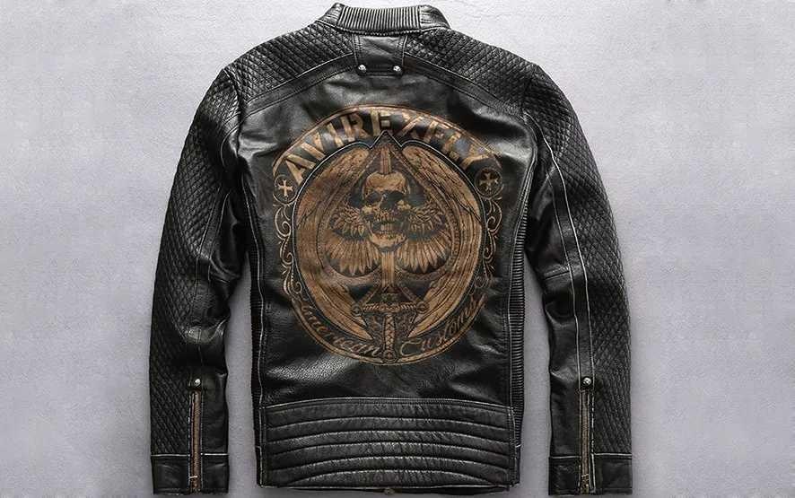 laser marking locomotive style leather jacket