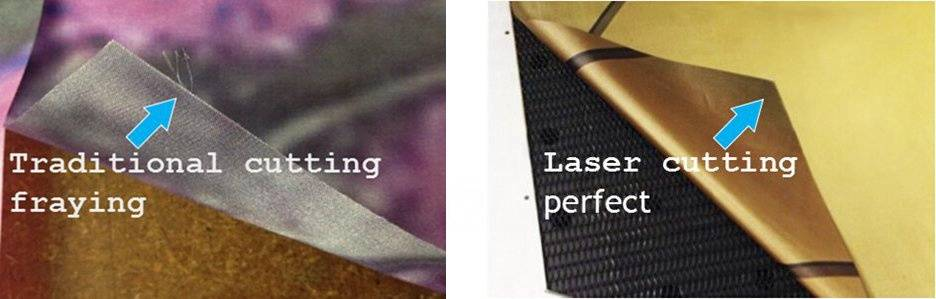 traditional cutting fraying VS laser cutting edge clean