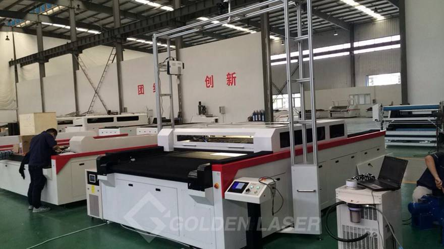vision laser cutting machine in golden laser factory