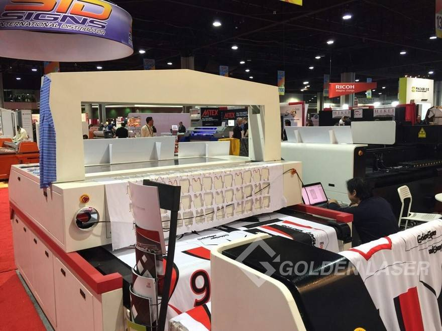 vision laser cutting system for sublimation printing textile with auto feeder